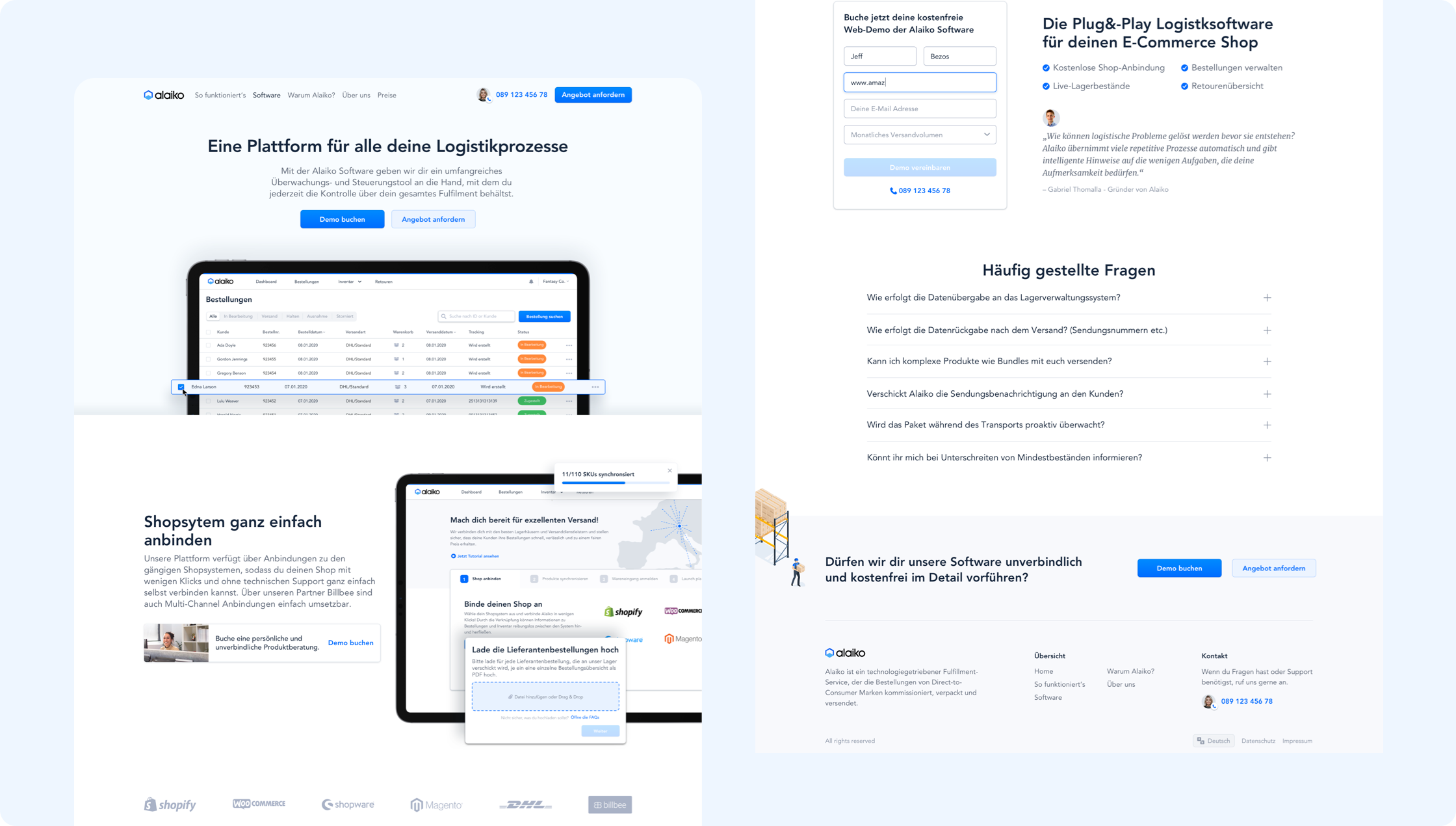Product & Landing page of Alaiko